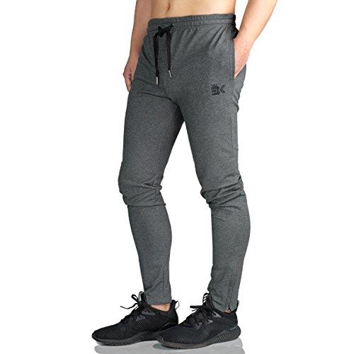 Broki Herren-Jogginghose mit Reißverschluss – lässige Fitness- und Trainingshose, schmale Passform, Chinos, Sweathose (schwarz) Gr. 31-35, dunkelgrau