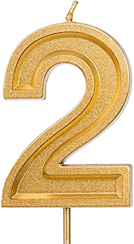 LUTER 2.76 Inches Large Birthday Candles Gold Glitter Birthday Cake Candles Number Candles Cake Topper Decoration for Wedding Party Kids Adults (2)