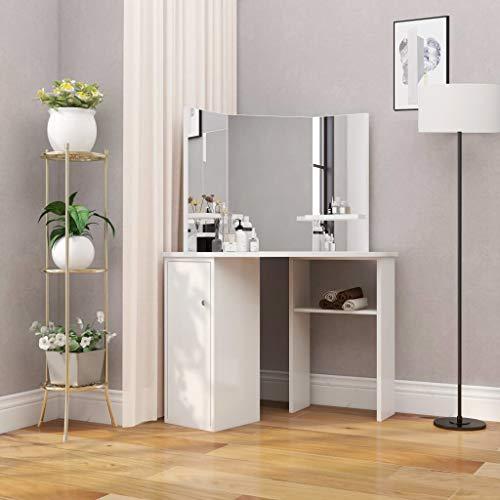 TEWTX7 Modern Eck-Schminktisch mit Spiegel, Frisiertisch, Kosmetiktisch, Kommode, Schlafzimmermöbel, Weiß