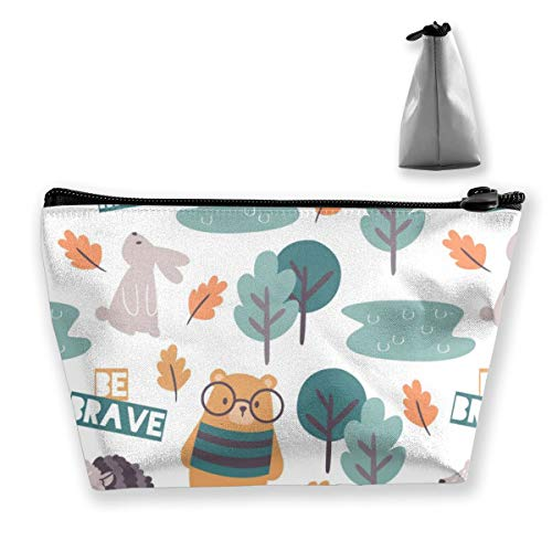 Multi-Functional Print Trapezoidal Storage Bag for Female Colorful Doodle Forest-Animals
