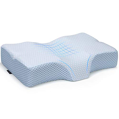 Adkwse Memory Foam Pillow, Cervical Contour Sleeping Pillows, Orthopedic Pillow for Neck Pain - Neck Support Bed Pillow for Side, Back and Stomach Sleepers, Washable Zippered Cover (White)