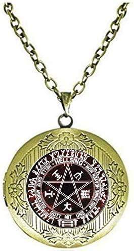 Hellsing Pentagram Locket Necklace Art Picture Jewelry