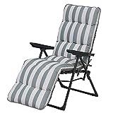 Sainsburys - Juego de tumbonas acolchadas y reclinables con diseño de rayas grises y blancas (silla de jardín al aire libre)
