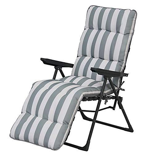 Sainsburys Padded Reclining Sun Lounger Cushioned Chair Set in Grey White Stripe (Outdoor Garden Deck Chair)