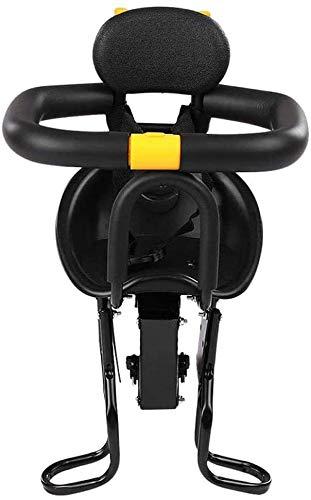 Asiento para bebé Seguridad Niño Bicicleta Asiento Bicicleta Frente Sillín para niños pequeños con pedales,Black