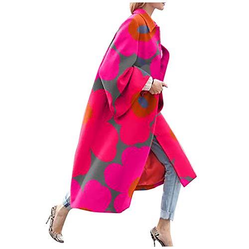 Sannysis Damen Winter Mode Strickjacke Bunter Outwear Lange Verdicken Cardigan Strickmantel mit Kapuzen Winterjacke Pullover Pulli Offener Ausschnitt Windbreaker (Pink, Large)