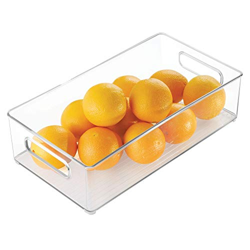 iDesign Plastic Portable Deep Storage Bin with Handles for Organizing Refrigerator, Freezer, Pantry, BPA-Free, Clear