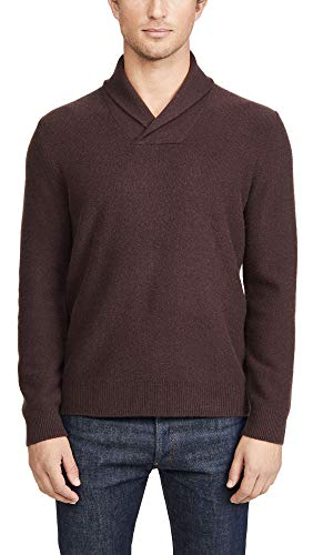 Vince Men's Shawl Long Sleeve Popover Cashmere Sweater, Deep Orchid, Purple, Red, X-Large