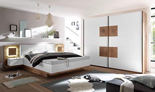 moebel-guenstig24.de Schlafzimmer Komplett Set 4-TLG. Capri XL Bett 180 Kleiderschrank 270 cm Nachtkommoden weiß Wildeiche