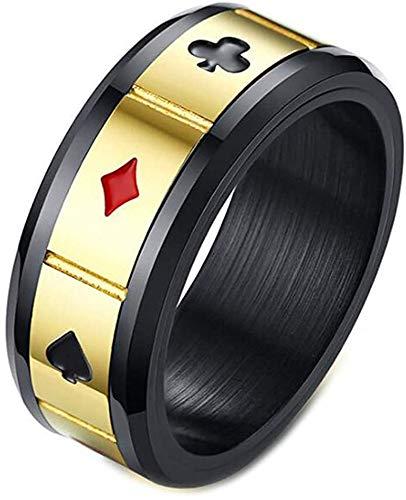 PAURO Anello Uomo Acciaio Inossidabile Poker Carta Spinner Punk Banda Oro Misura 14