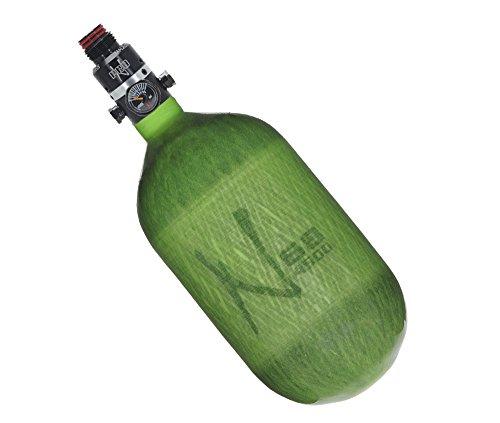 Ninja Paintball Pro V2 Compressed HPA Air Tank Standard Adjustable Regulator (ALL COLORS / SIZES) (68/4500 Carbon, Pro V2 Adj Reg, Translucent Lime, 68ci)