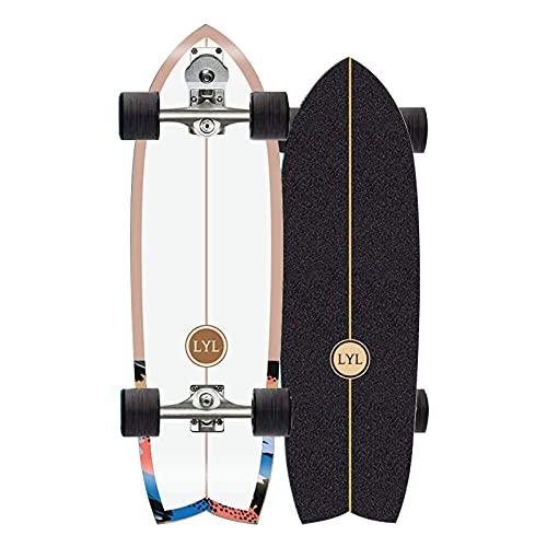 ROOFTOP Adecuado para Skateboarding 31 Pulgadas, 7 Capas de Maple de Capa y Soporte de dirección S7, Tallado, Bombeo, Surf, Practica de Surf, Adultos, niños, Principiantes, etc,No.9