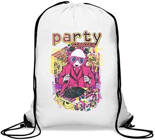 Party Starter DJ Panda Bear Pop Art Borsa da palestra casual con coulisse