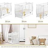 Gitterbett Babybett 2in1 60x120 mit Schublade Schlupfsprossen und Lattenrost Höhenverstellbar Umbaubar zum Juniorbett für Mädchen und Junge - Weiß - 3
