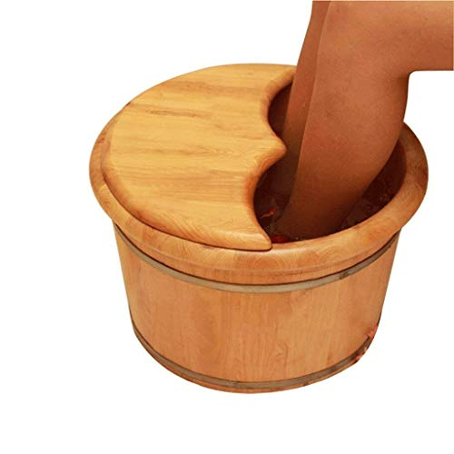 Read About ZYPDD Foot Bath Barrel Solid Wood Natural Thicken Foot Basin Wooden Bucket Foot Spa Tub H...