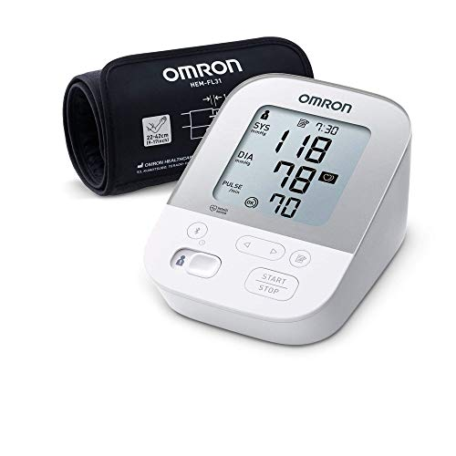 """OMRON X4 Smart Oberarm-Blutdruckmessgerät, \""""Gut\"""" bei Stiftung Warentest 09/2020, mit Bluetooth und Intelli Wrap Manschette"""