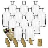 12 leere Glasflaschen 'Apotheker 250 ml' incl. Korken zum selbst Abfüllen Likörflasche Schnapsflasche