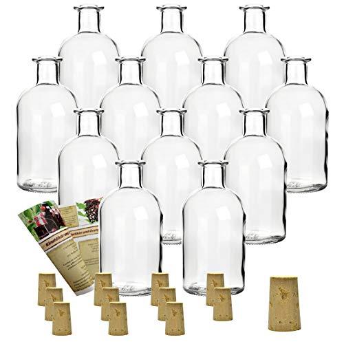 gouveo 12 bouteilles vides de 250 ml avec bouchon, bouteilles en verre vides, bouteilles de liqueur