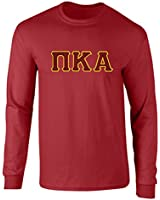 Fashion Greek Pi Kappa Alpha Twill Letter Long Sleeve T Shirt Card 1 XL