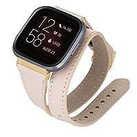 Venito Serena レザーダブルラップスリム腕時計バンド Fitbit Versa/Versa 2/Versa Lite対応 Gold Connector & Clasp