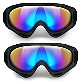 ANSMIO Ski Goggles, Pack of 2 Snowboard Goggles Windproof, UV Protection for Outdoor Riding for Kids, Youth, Men and Women