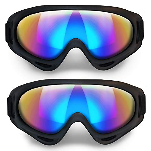 ANSMIO Ski Goggles, Pack of 2 Snowboard Goggles with Anti Fog Glare Extended Adjustable Strap, Snow Goggles for Kids, Youth, Men, Women, Motorcycle Goggles, Windproof, UV Protection for Outdoor Sports
