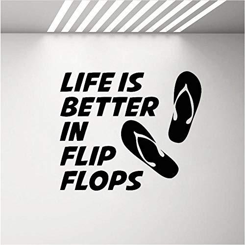 Kreative Wand Leben ist besser in Flip Flops Wandtattoo Strand Poster Wandaufkleber Strand Zitat Meer Ozean Vinyl Aufkleber Schwimmbad Dekor