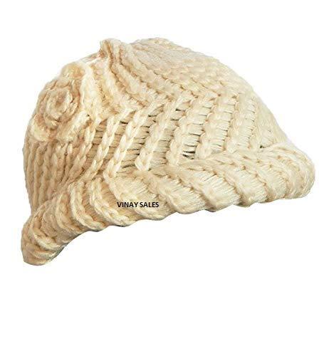 Vinay Sales Women's Woolen Cap ||White || Free Size||