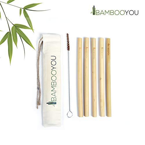 Pajitas de bambú reutilizables de alta calidad con 5