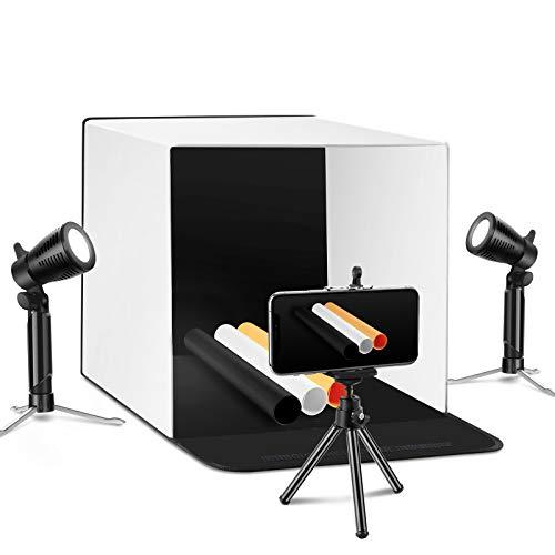 ESDDI 40x40cm Foto-Studio-Box Aufnahmezelt-Stand Tragbare Tischplatte-Fotografie-Beleuchtungszelt-Ausrüstung Faltbarer Lichtwürfel mit 2x20 LED-Lichtern 4 Farben Backdrops
