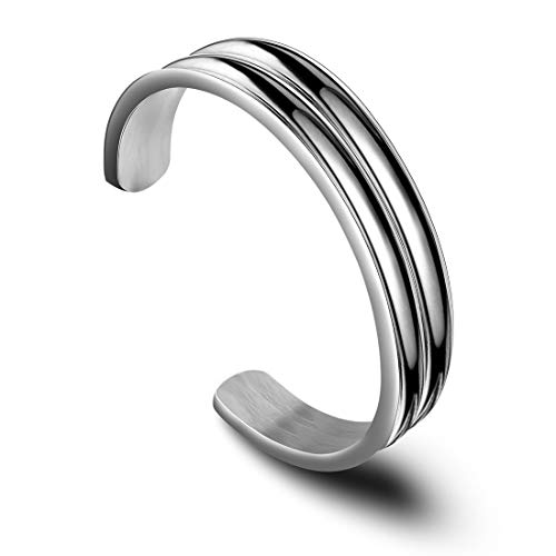 Zuo Bao Double Channel Hair Tie Bracelet Holder for Women Stainless Steel Groove Ponytail Holder Bracelet, Can Holds 2 Hair Ties (Silver)