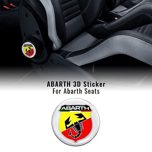 Adesivi 3D per Sedili Fiat 500 Abarth, Scudetto, 2 Pezzi, Diametro 75 mm