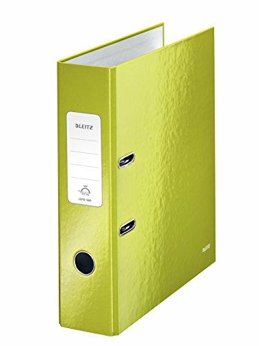 Leitz 10050064 Qualitäts-Ordner (A4, 8 cm Rückenbreite, Graupappe mit laminierter Oberfläche, WOW) grün glänzend , Design kann variieren