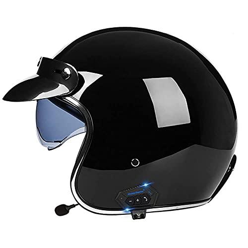 ZWLI Casco Jet para Motocicleta Bluetooth con Visera Solar, Casco Abierto Certificado ECE, Adultos Unisex, Carcasa de ABS, para Casco de Bicicleta Scooter Touring (55~64 cm)