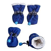 ZYHWS ペットの冬の暖かいソフトカシミヤの反スキッドレインシューズのための犬のペットの防水柔らかい履物の滑り止め防止の防水シューズ (Color : L, Size : M)