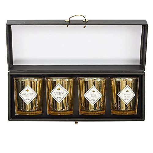 Paris Prix - Lot De 4 Bougies Parfumées électroplate 6cm Orchidée & Figue