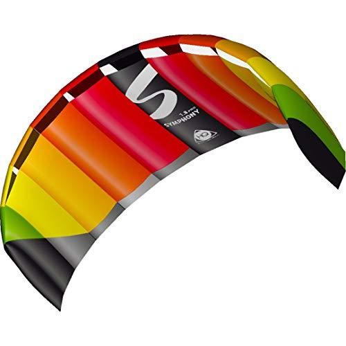 HQ 11769650 - Symphony Pro 1.8 Rainbow Zweileiner Lenkmatten, ab 12 Jahren, 60x180cm, inkl. 100 kp Dyneemaschnüre 2x25m auf Winder mit Schlaufen, 2-6 Beaufort