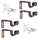 Alikeke Adjustable Curtain Rod Wall Bracket, Set of 4, Red Bronze, Premium Steel Drapery Rod Bracket for Walls, Curtain Rod Holder