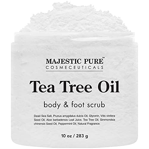 MAJESTIC PURE Tea Tree Body and Foot Scrub - Strong Shield against - Best Exfoliating Cleanser for Skin - Natural Help Against Acne and Callus - Promotes Healthy Foot - 10 oz