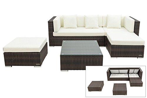 OUTFLEXX kompaktes Lounge Sofaset inkl. Hocker und Kaffeetisch mit klarer aufliegender Glasplatte, aus Polyrattan in braun marmoriert für 5 Personen, inkl. Polster und Boxfunktion, wetterfest