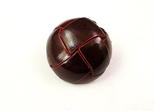本皮革ボタン 洗練されたツヤ有 高級な金属足 4色 4サイズ展開 (15mm, 茶色)