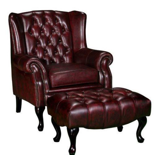 JVmoebel Chesterfield Ohrensessel + Hocker Sessel Couch Polster Set Leder Textil 16101330