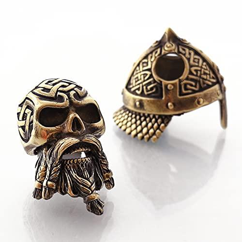 CooB 1Pcs/Lot EDC Paracord Bead Beads Pendant Charm Hair Beard. DIY Beads for Paracord Bracelet, Charm Zipper Pull Biker Viking Helmet Warrior ( Celtic Skull Bronze )
