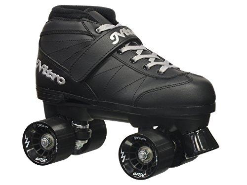 Epic Skates Super Nitro Indoor/Outdoor Quad Speed Roller Skates, Youth 5 , Black