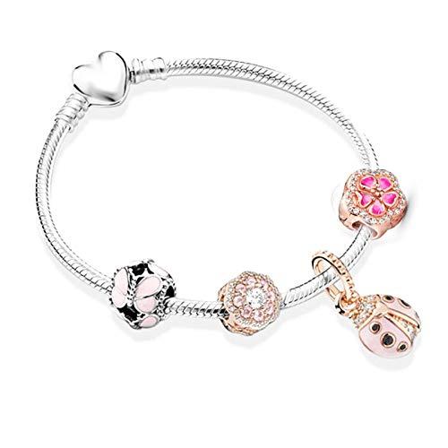 DSJTCH European Heart-shaped Pendant Charm Bracelet Fit Women's Jewellery Chain Rose Gold Metal Fashion Fine Bracelets (Length : 17cm, Metal Color : SL91417462)