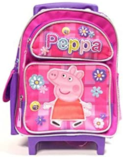 New Peppa Pig Allover Flower Small Todder Rolling Backpack-2304