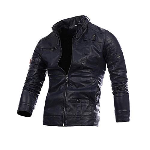 Jacke New Men Fashion Stehkragen Zip Pu Leder Herren Langarm Lederjacke Jacke