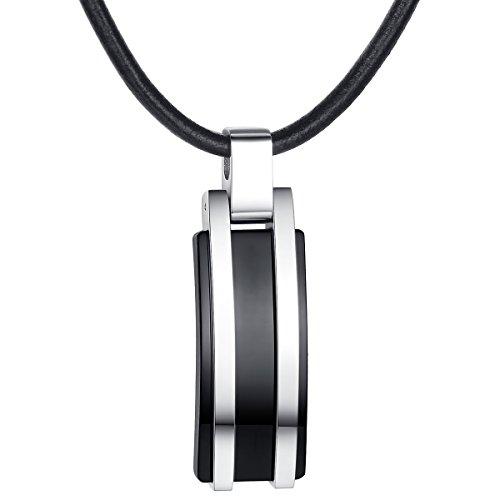 True Rebels Herren-Echtlederkette Echtleder schwarz 51 cm - Halskette Dogtag Edelstahlhalskette mit Anhänger Männerschmuck Kette
