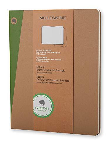 Moleskine Evernote Notizbuch (kariert, Extra Large Soft Cover) 2-er-Set natur