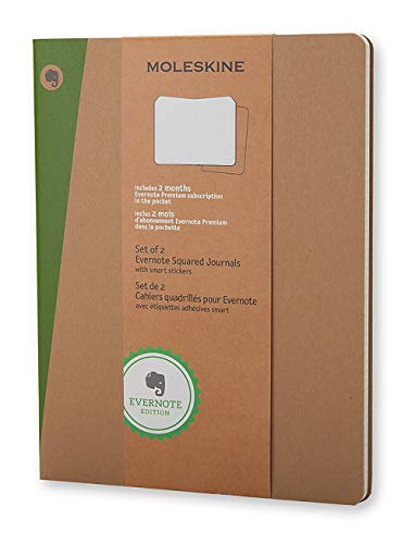 Moleskine Evernote Notizbuch (kariert, Extra Large Soft Cover) 2-er-Set natur